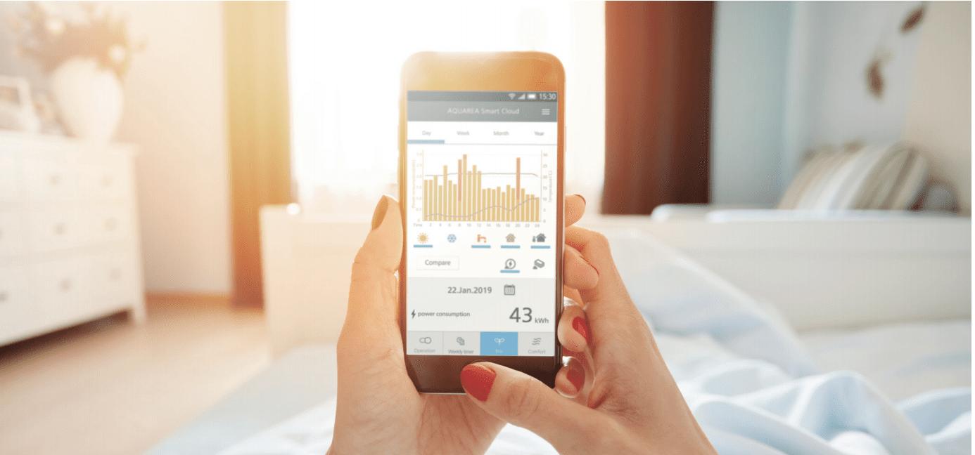 Fjernstyring af varmepumpe med smartphone